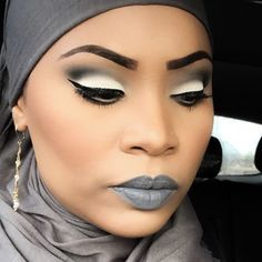 Grey lipstick on dark skin. Beautiful!  LA Splash's Vindictive  http://shop-lasplash.com/makeup/lip-couture.html or Lime Crime's Cement. Or maybe Makeup Monster Cosmetics.