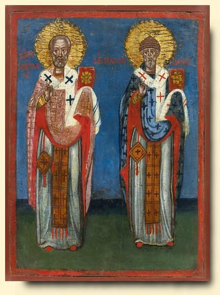Saint Nicholas and Saint Spyridon - exhibited at the Temple Gallery, specialists in Russian icons