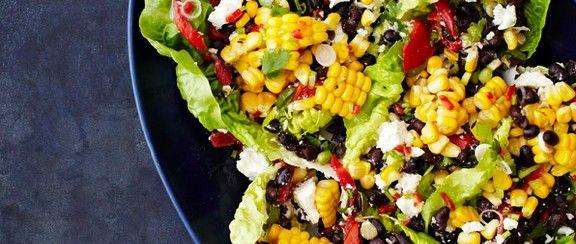 Roasted corn, black bean and feta salad