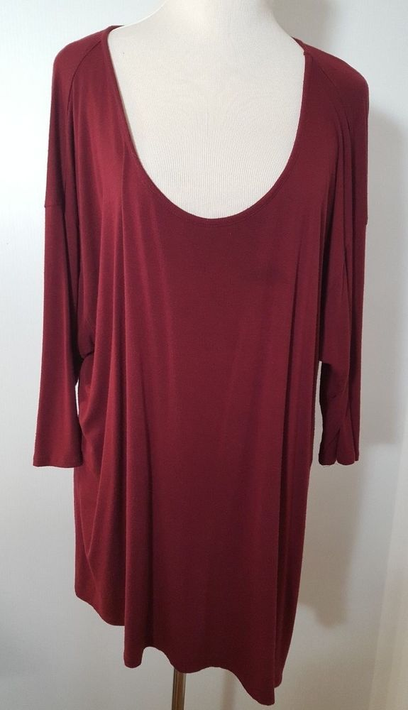 cec243035c2 Maurices Top Ladies Plus Sz 18 2 Red Scoop Neck Open Shoulder Asymmetrical  372 #Maurices #KnitTop #Casual