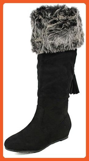 Wild Diva Women's Candies 154 Faux Smooth Suede Knee High Fringe and Faux Fur Boots, Black, 5.5 M US - Boots for women (*Amazon Partner-Link)