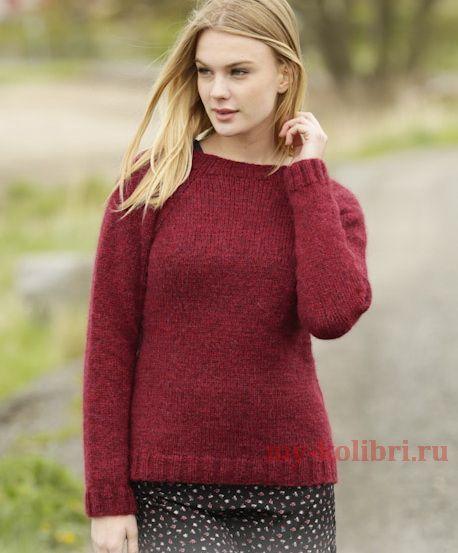 Классический пуловер лицевой гладью http://my-kolibri.ru/vyazanie-dlya-zhenshhin/svitera-puloveryi-topyi-koftyi/klassicheskij-sviter-spitsami-litsevoj-glad-yu/
