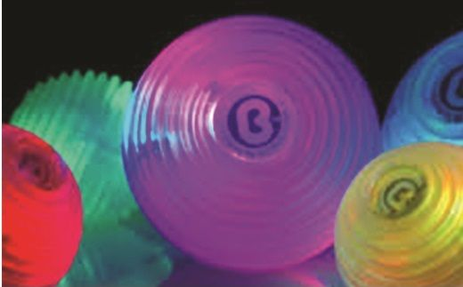 With a gentle squeeze of the hand this 5cm translucent light ball can change through a range of 7 different colours and 3 different modes (constant colour, slow phase and fast phase). A lovely sensory toy and also helpful for developing muscle strength in the hands. Recommended for children age 6 and above but used under supervision we feel it is also suitable for many younger children. Takes 2 AA batteries (included). Should not be thrown.  http://www.fledglings.org.uk