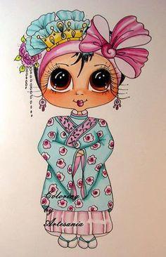 Faça o Download Digital Digi selos Olho grande Cabeça grande Dolls Bestie New…