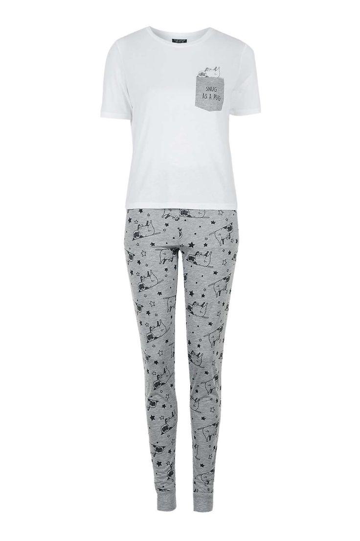 Snug As A Pug Pyjama Set - Nightwear - Clothing - Topshop