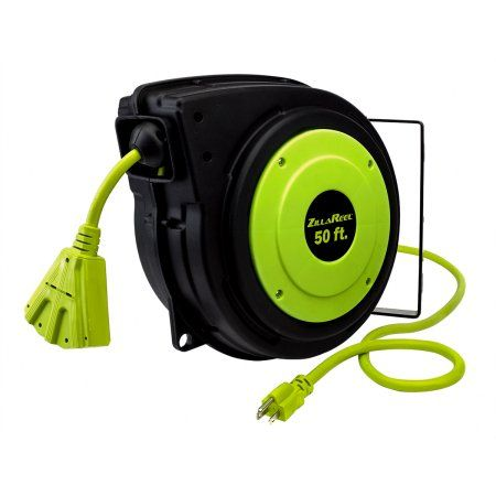 Electrical Cord Reel 14 3awg 50ft Triple Tap Green Extension