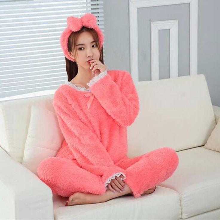 2017 Autumn Long Sleeve Pyjama Sets Femme Lace Printed Unicorn Pajamas Women Bowknot Patchwork Pink Sleepwear Kigurumi Hairband #Affiliate
