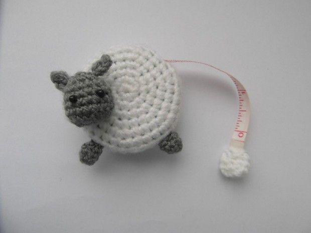 Top 10 sheep knitting patterns -Sheep tape measure cover crochet pattern available to download at LoveKnitting