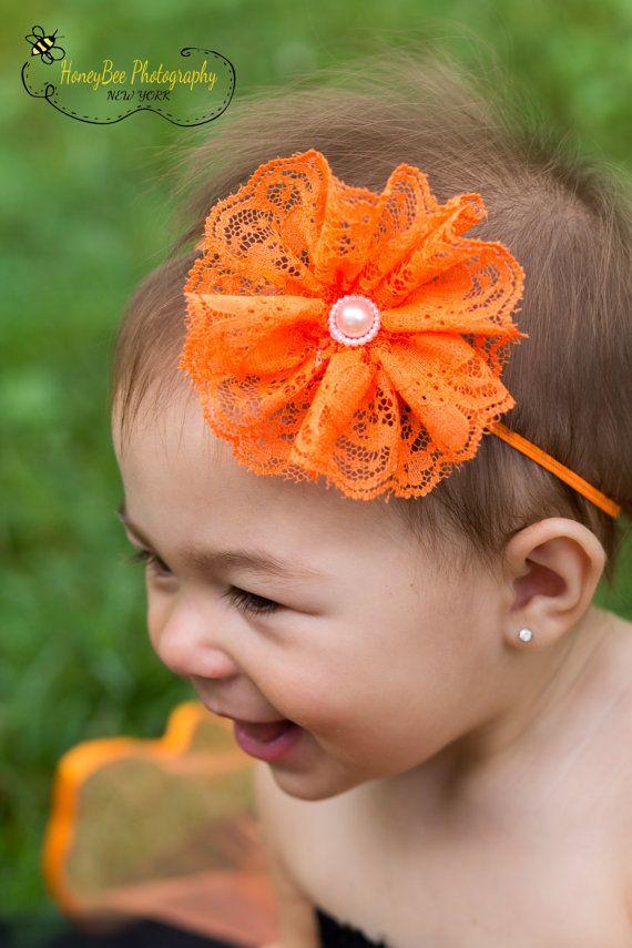 Orange Halloween Headband Orange Hair Bow by VioletsVelvetBox, $7.99