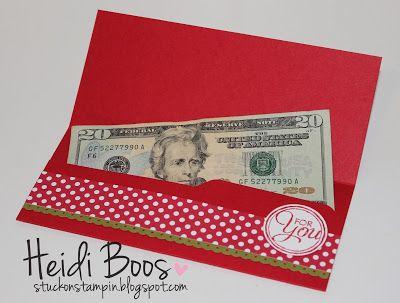 Envelopje om geld in te doen en cadeau te geven.  Gemaakt met het Punchboard