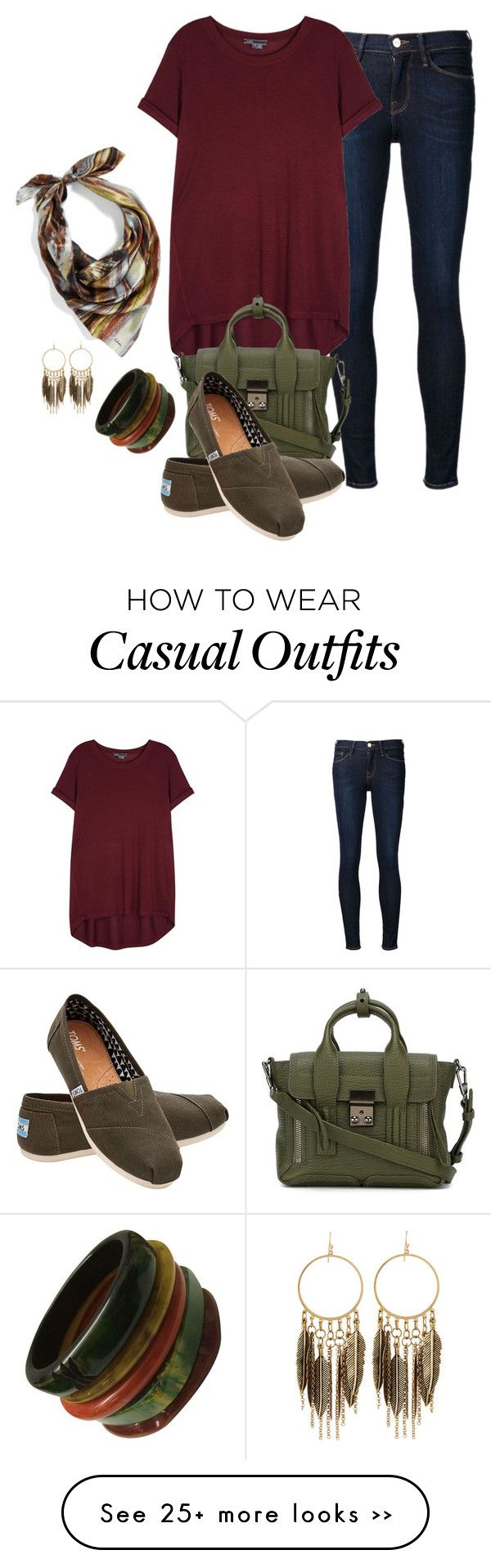 """casual day"" by hcc71 on Polyvore featuring Frame Denim, Vince, 3.1 Phillip Lim, TOMS, Panacea and Echo"
