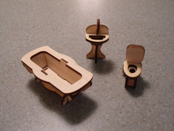 Dollhouse miniature furniture bathroom bath by MLSLaserEngraving, $5.00