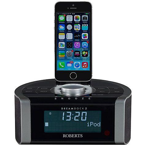 Buy ROBERTS DREAMDOCK2 DAB/DAM+/FM Digital Clock Radio with iPod/iPhone Dock - Lighting Connector Online at johnlewis.com