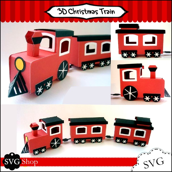 Make Christmas special with this 3D Christmas Train. Use it to make your home more festive, it can sit on a window sill, mantel, or side table. Cut it out with special holiday papers for a playful look, or solid high quality paper for an elegant presentation. Kids will love making this with you and playing with it!