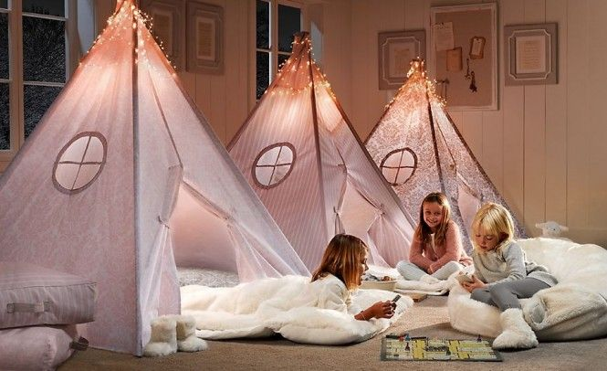 An adorable take on the sleepover trundles these mini teepees provide the perfect place for late night chatting and games..