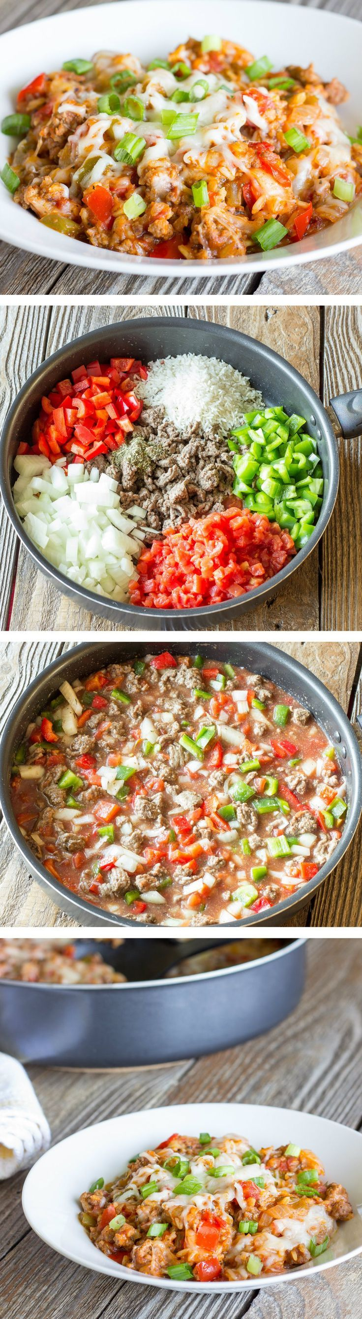 Beef, rice, cheese, peppers, and seasoning all cooked together in one pot.