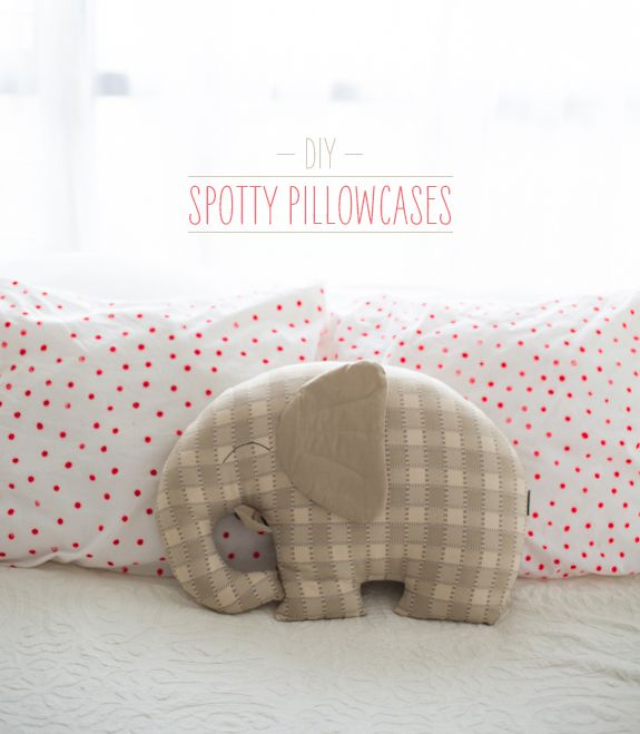 DIY Spotty Pillowcases for the girls room - simple and fun.