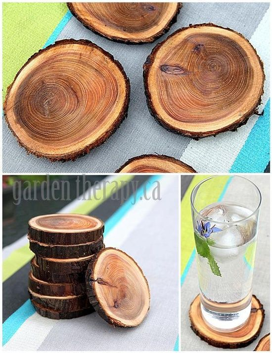 home decoration via recycling   Recycling Tree Branches into Coasters (via Garden Therapy) @ DIY Home ...