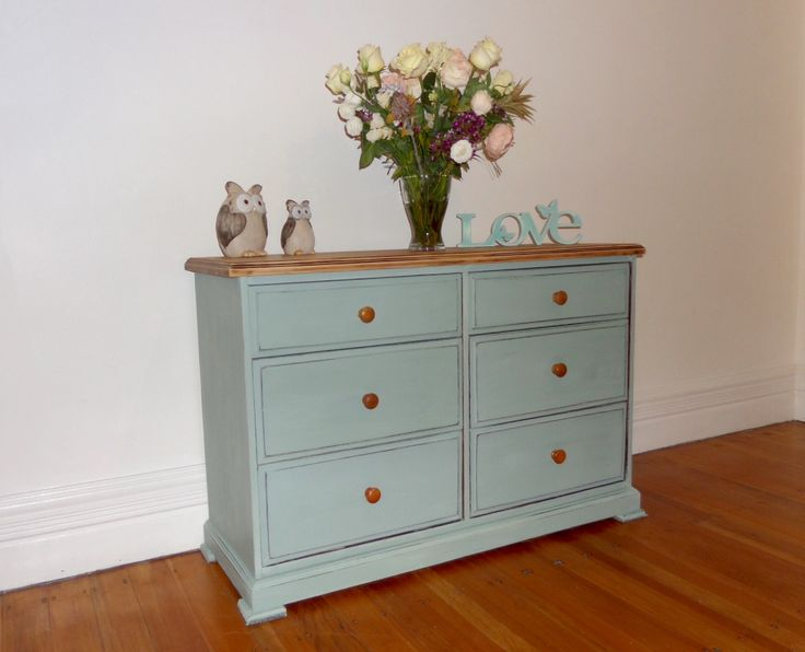 Shabby Chic Chest Of Drawers In Annie Sloan Duck Egg Blue Upcycled By Dusty  Treasures Home