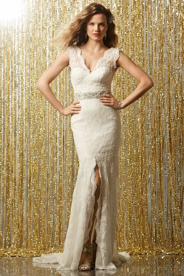 modern-chic-v-neck-court-train-lace-sheath-column-wedding-dress-
