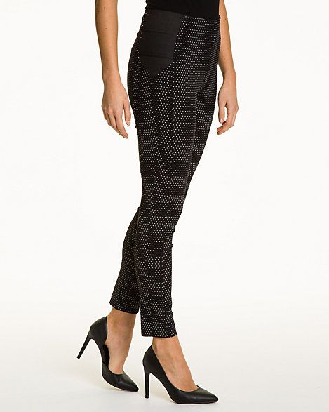Dot Print Stretch Woven Skinny Leg Pant - Pull-on these figure-hugging dot print stretch woven pants for a retro-chic look.