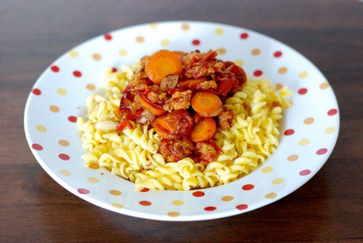 Fotorecept: Fusilli s grilovanou zeleninou a opekanou strúhankou