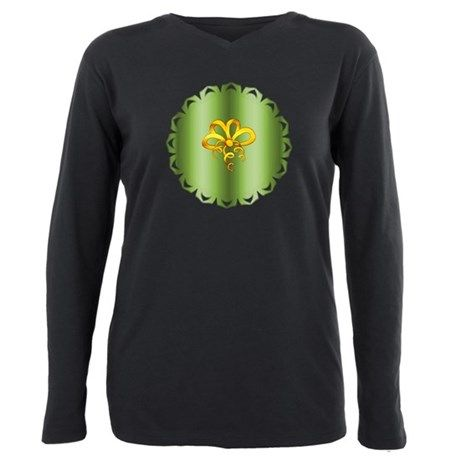 Gold Christmas Bow on Green T-Shirt