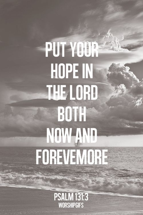 Psalm 131:3 (NIV) - Israel, put your hope in the Lord both now and forevermore.