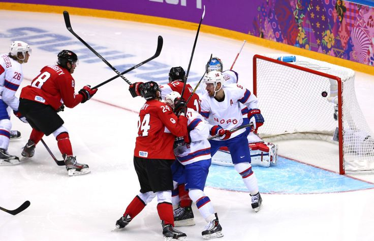 Canada vs Norway: Canada wins 3-1  Preliminary Round Group B game on day six of the Sochi 2014 Winter Olympics at Bolshoy Ice Dome on February 13, 2014 in Sochi, Russia.