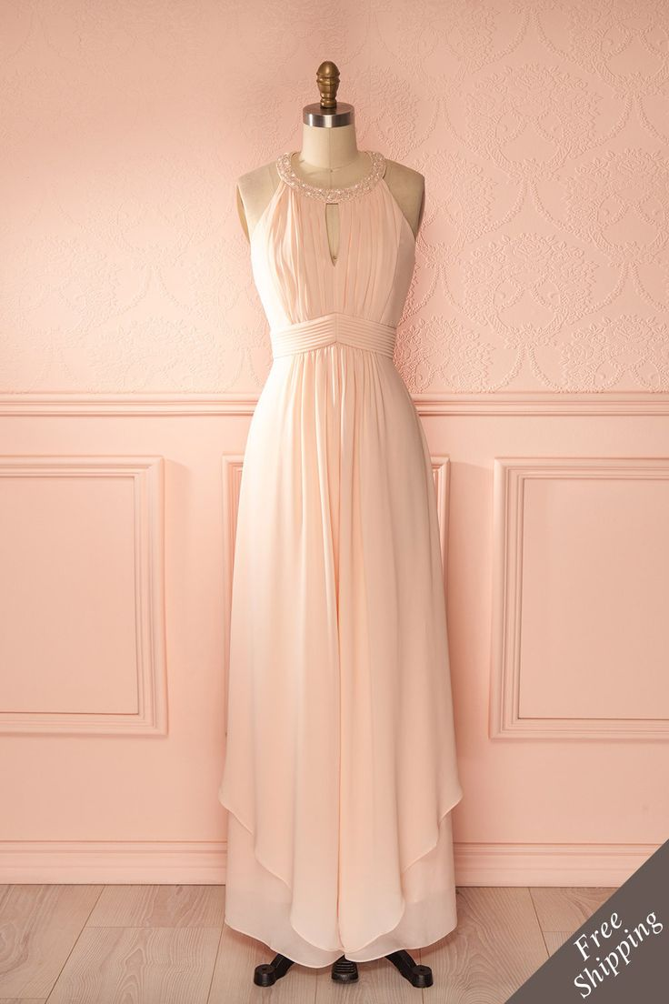 Tianyi - Light pink veil halter sleeveless dress