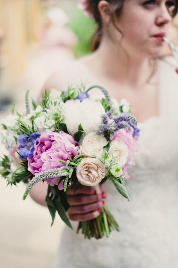 Gorgeous bouquet of peonies & roses >> Rustic English Barn Wedding: Vintage Pastels & Floral Fabric | Joseph Yarrow