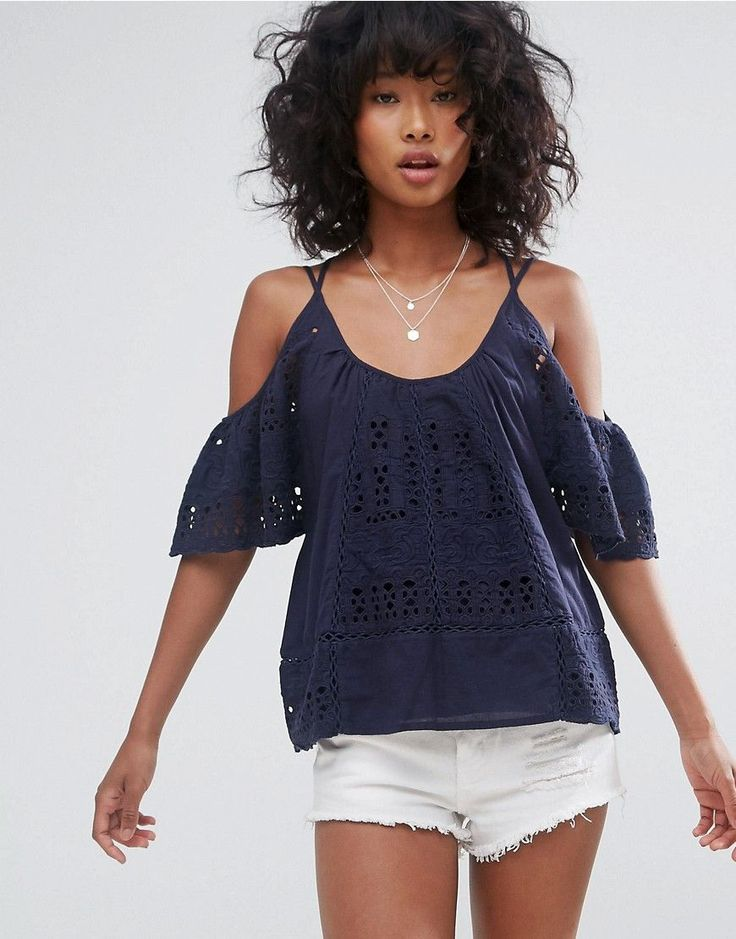 D.RA CULVER CITY COLD SHOULDER BLOUSE - NAVY. #d.ra #cloth #