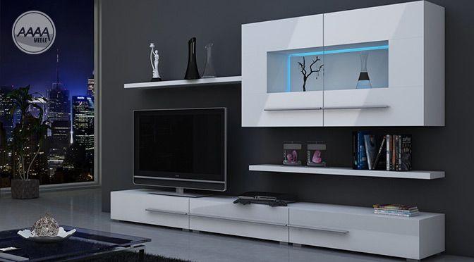 Białe meble do nowoczesnego salonu. http://www.aaaameble.pl/