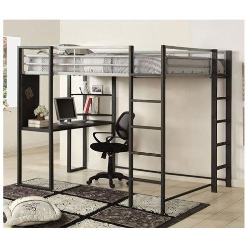 sherman full metal constructed twin size bunk bed w workstation - Metal Frame Loft Bed