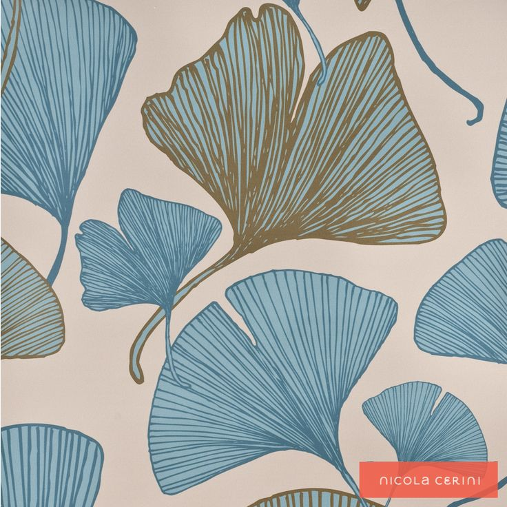 Ginkgo Blue/Green Wallpaper