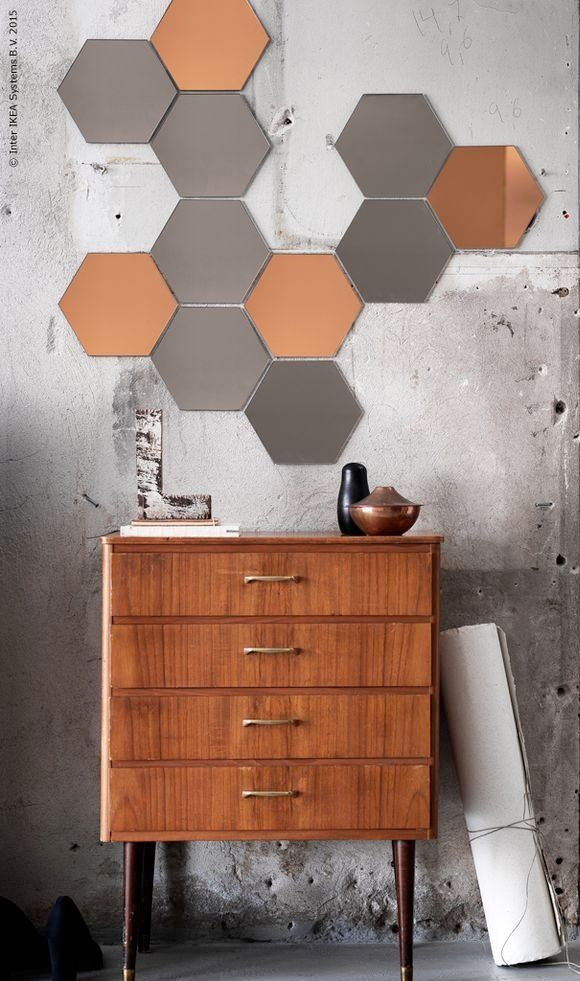 self adhesive hexagonal shaped h nefoss mirror tiles create a honeycomb affect on your wall. Black Bedroom Furniture Sets. Home Design Ideas