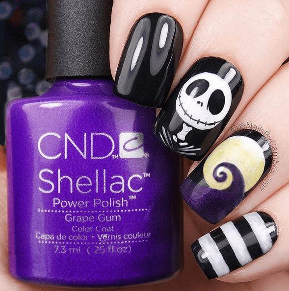 Nightmare Before Christmas Halloween Nail Art | Spooky Halloween Nail Designs Fo…