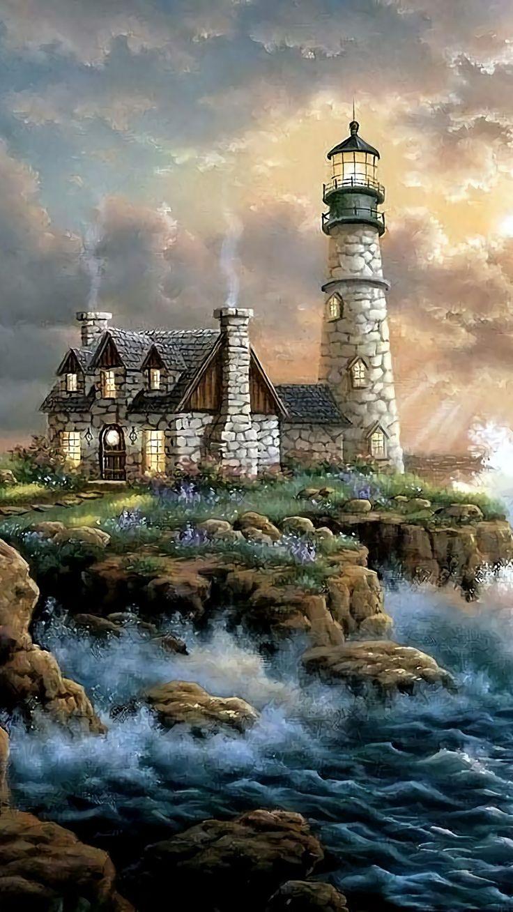 A stone lighthouse
