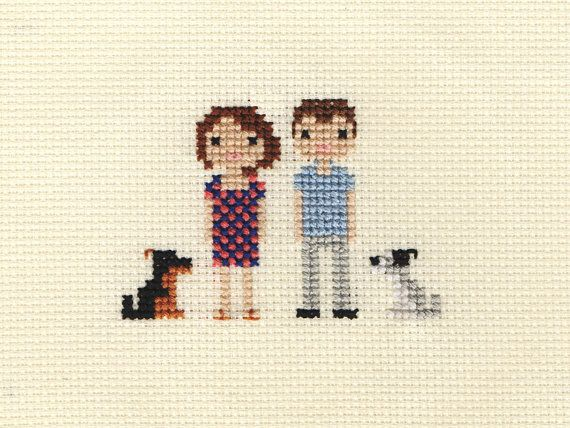 Family Custom Pixel Cross Stitch Portrait Framed por ScarletPyjamas