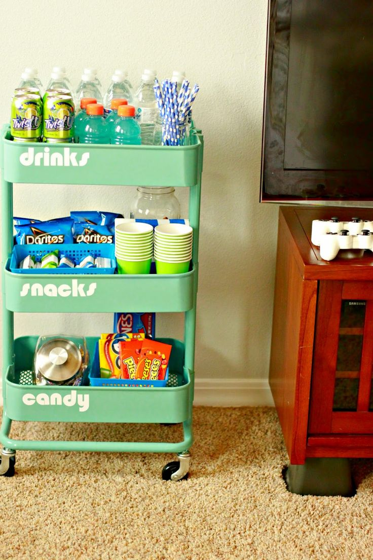 Game room ideas for small spaces - Just Another Day In Paradise Game Night Snack Station