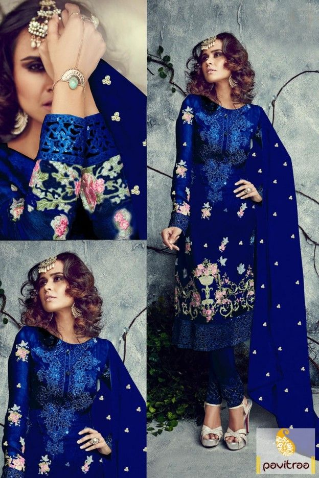 #Blue santoon chiffon georgette salwar suit online shopping in cheap cost on pavitraa fashion. This heavy embroidery wedding and reception wear salwar kameez is worth to buy.  #partywearsalwarsuit, #salwarkameez,   #embroiderypartywearsuit, #discountoffer, #plussizedresses, #marriagewear, #receptionwear Visit Our New Product: http://www.pavitraa.in/store/embroidery-salwar-suit/ Any Query: Call Us:+91-7698234040 E-mail: info@pavitraa.in