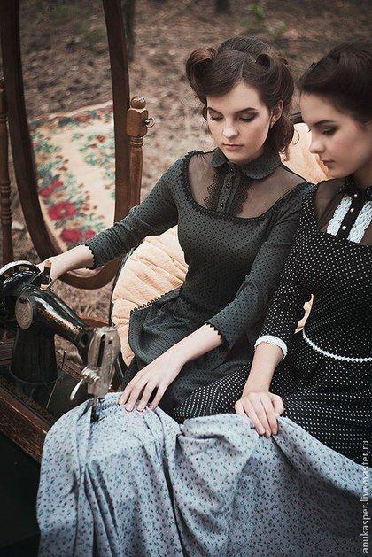 """платье в пол """"Черное в белый горошек"""" - Платье нарядное,платье в пол,платье вечернее"""