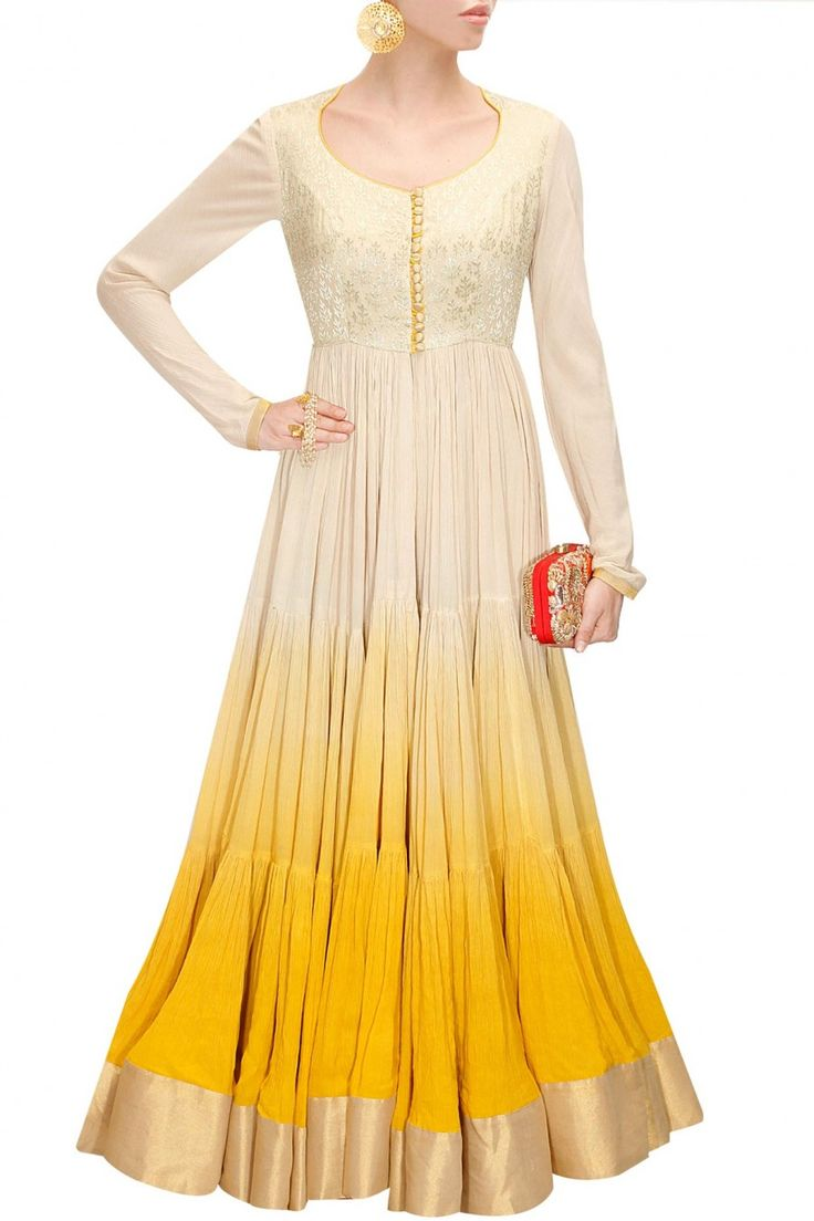 Yellow shaded anarkali suit available only at Pernia's Pop-Up Shop.