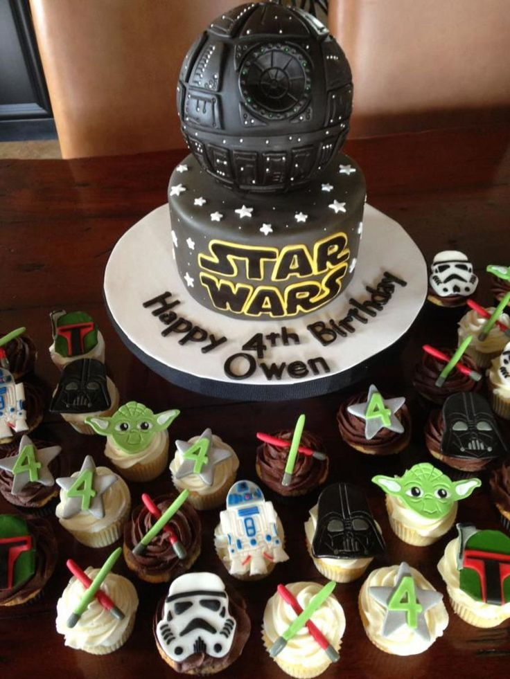 Star wars cake & cupcakes.  Faux cake (RKT), lemon pound...