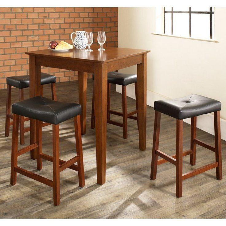 Crosley 5-Piece Pub Dining Set with Tapered Leg and Upholstered Saddle Stools - KD520008