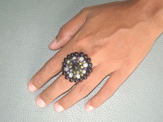 $8.90 USD BEADED  crochet RING in PURPLES and  sparkly by ExtravaganzaBali