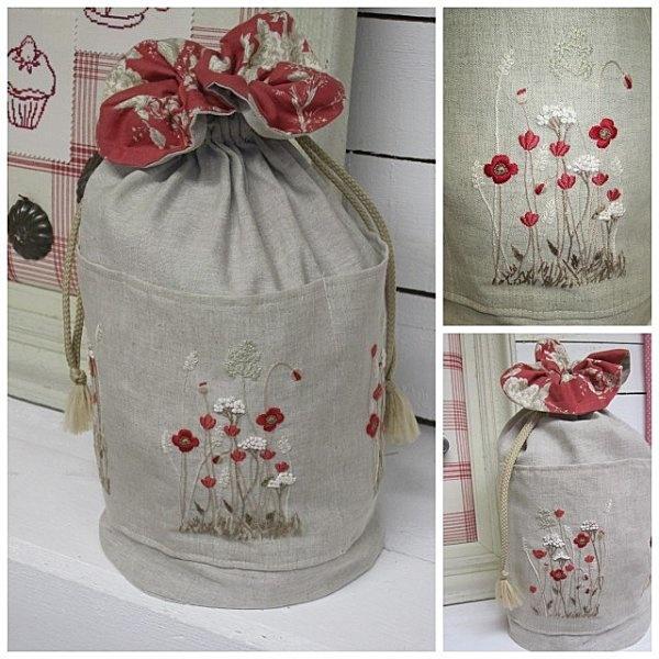 Cross Stitching Bag Flower Field Summer / Kreuzstich Beutel Tasche Bumen Wiese Sommer