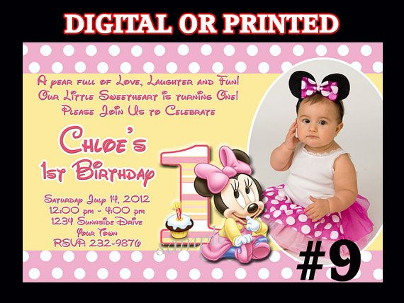 Baby Minnie Mouse First Birthday Invitation YOU by LetsPartyShoppe