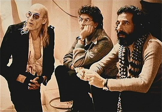 Richard O'Brien on the set of The Rocky Horror Picture Show with Michael White and Lou Adler