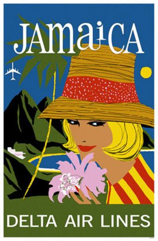 JAMAICA Vintage Travel Poster - Jamaica - Airline {note}